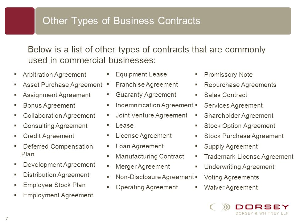 Other Types of Business Contracts