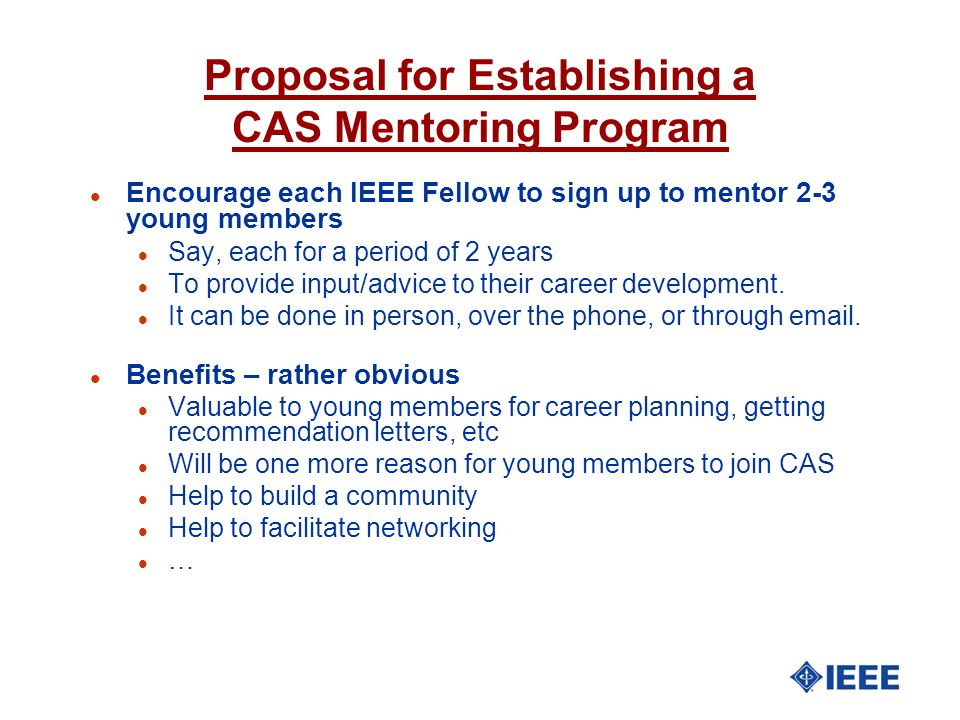 Proposal for Establishing a CAS Mentoring Program