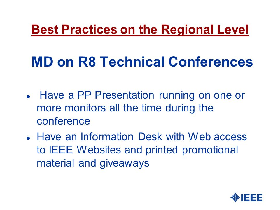 Best Practices on the Regional Level