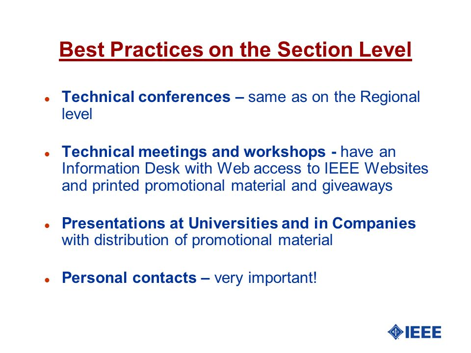 Best Practices on the Section Level
