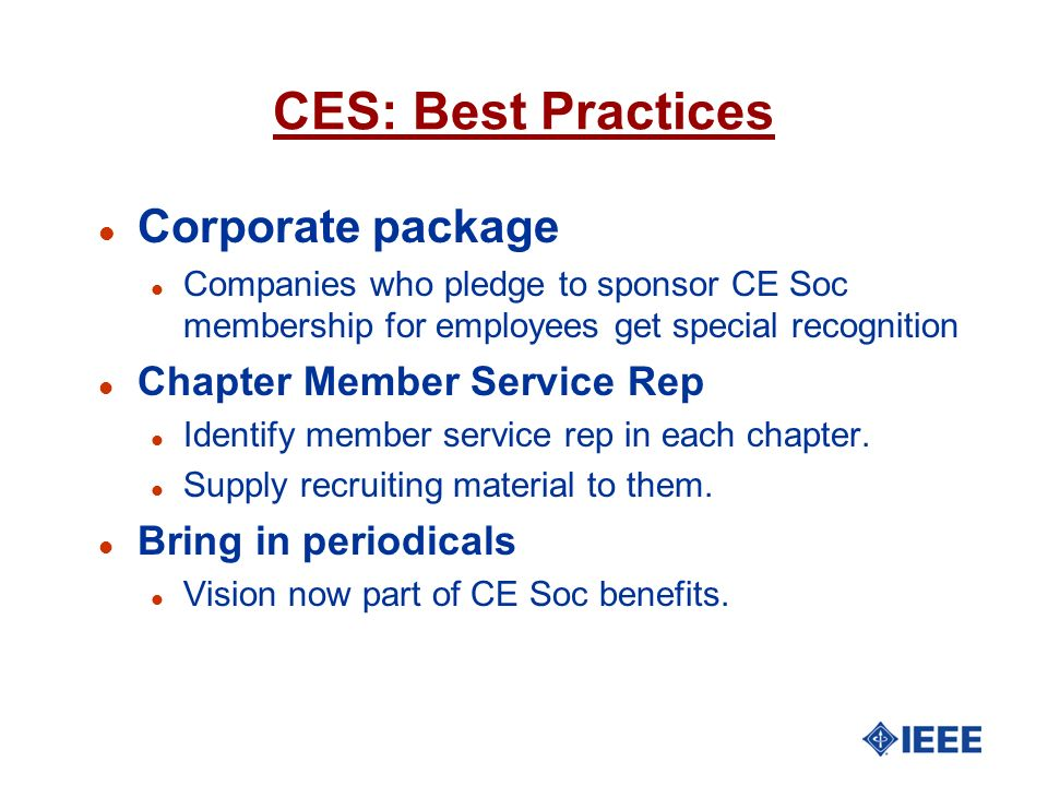 CES: Best Practices Corporate package Chapter Member Service Rep