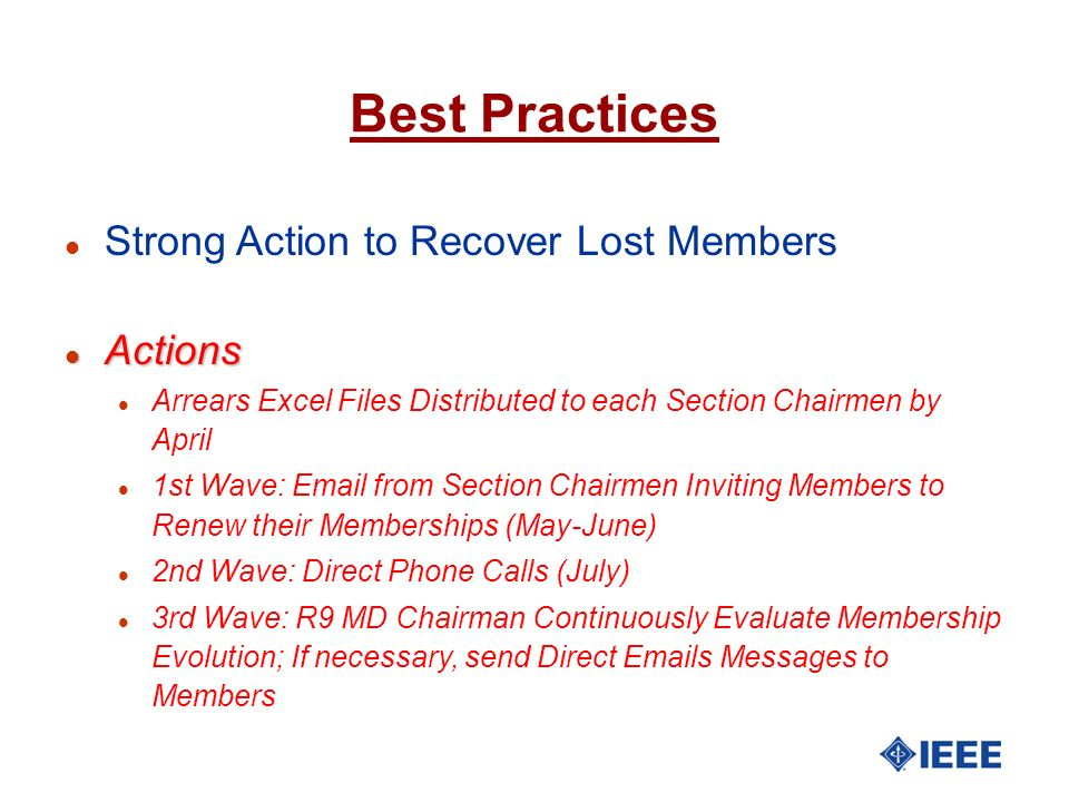Best Practices Strong Action to Recover Lost Members Actions