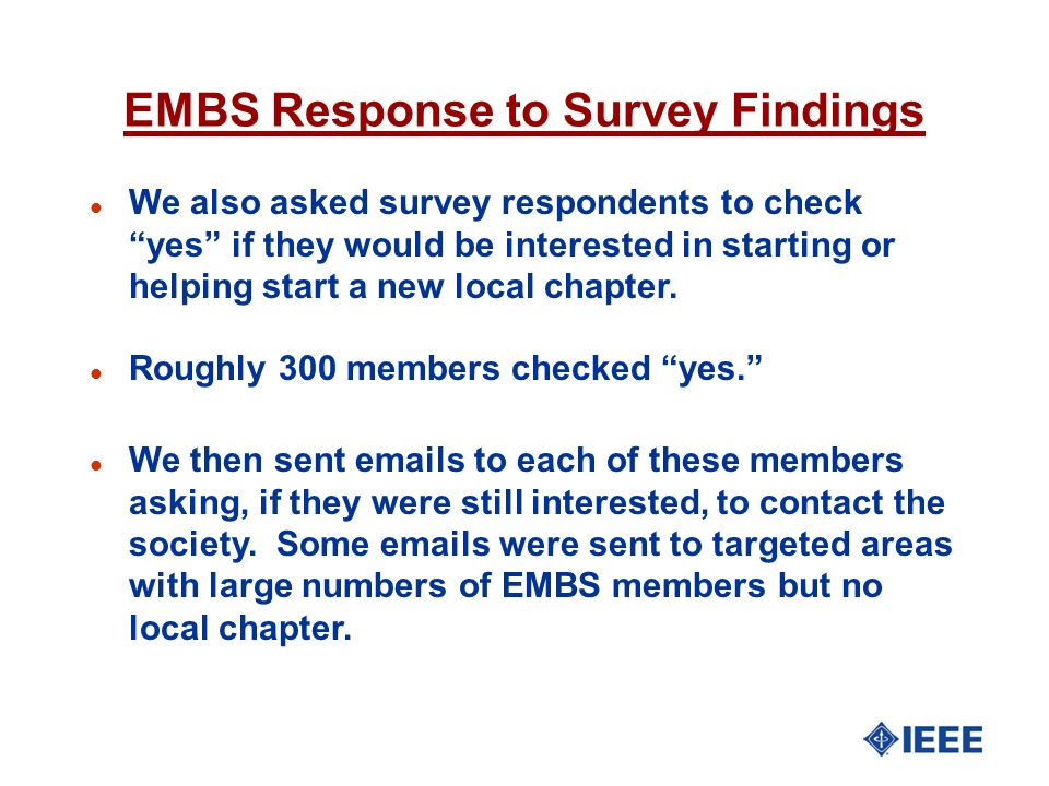 EMBS Response to Survey Findings