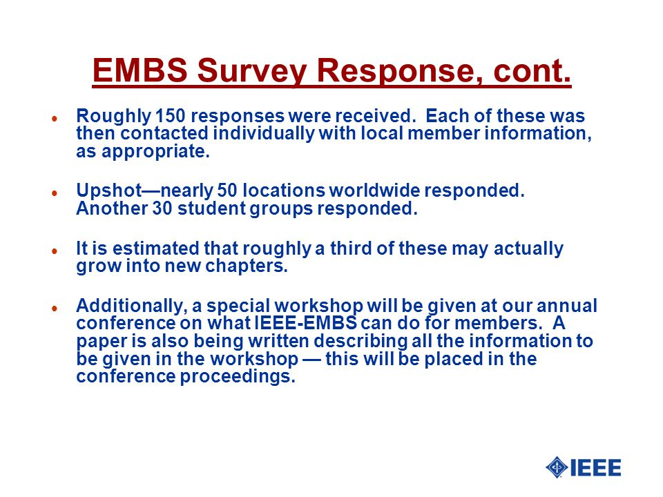EMBS Survey Response, cont.