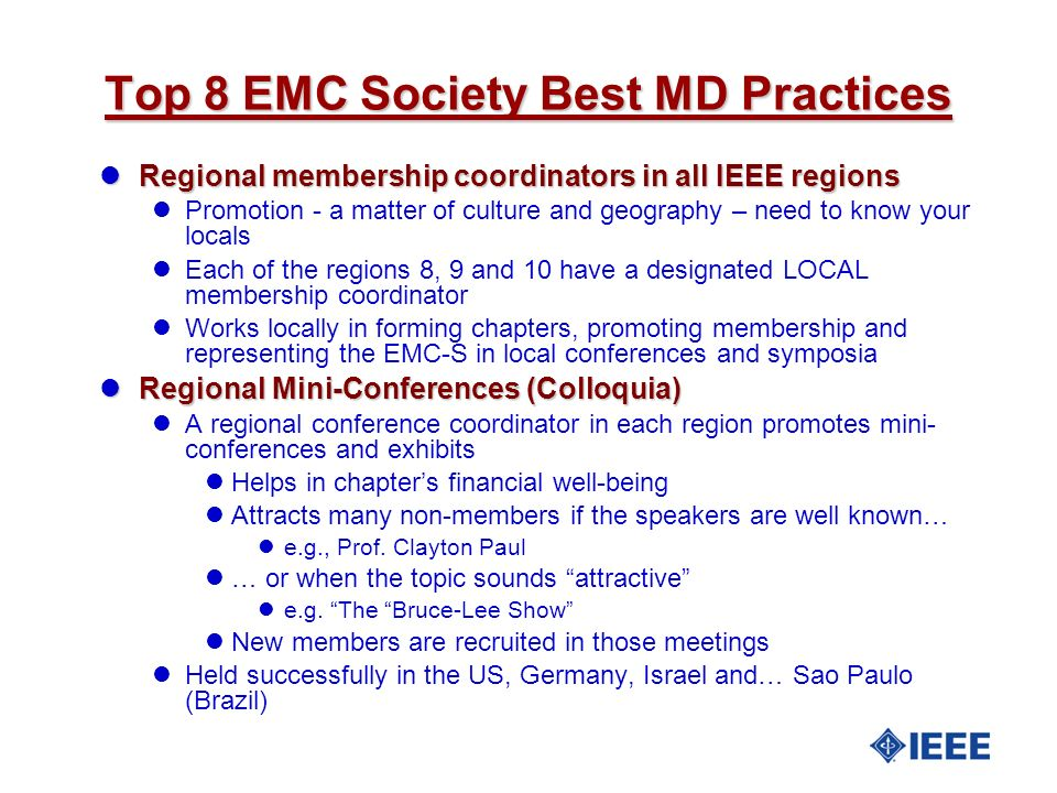 Top 8 EMC Society Best MD Practices