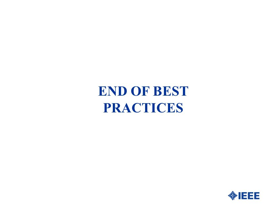 END OF BEST PRACTICES
