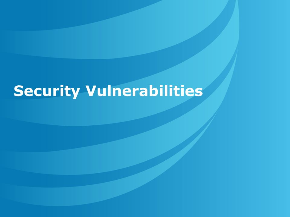 Security Vulnerabilities