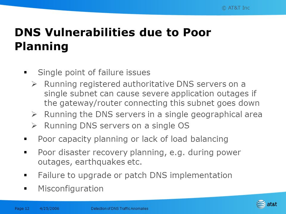 DNS Vulnerabilities due to Poor Planning