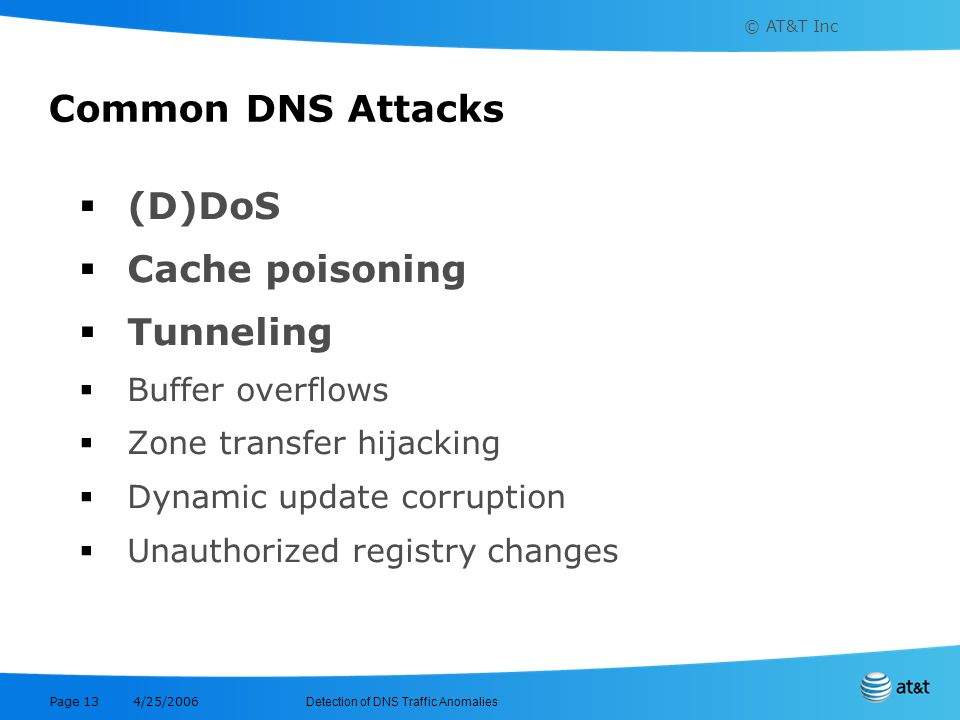 Common DNS Attacks (D)DoS Cache poisoning Tunneling Buffer overflows