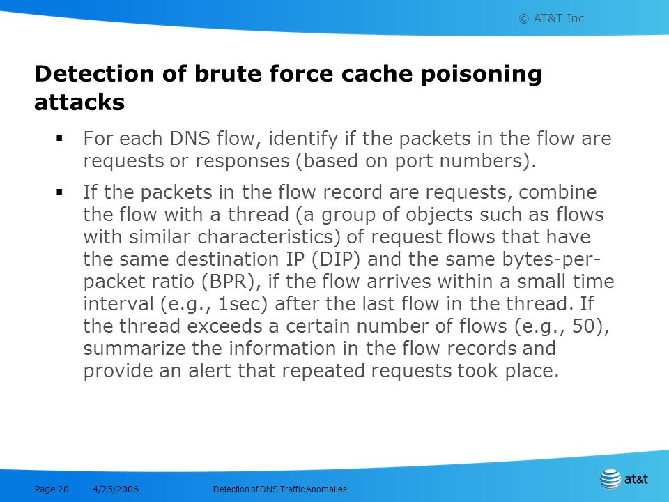 Detection of brute force cache poisoning attacks