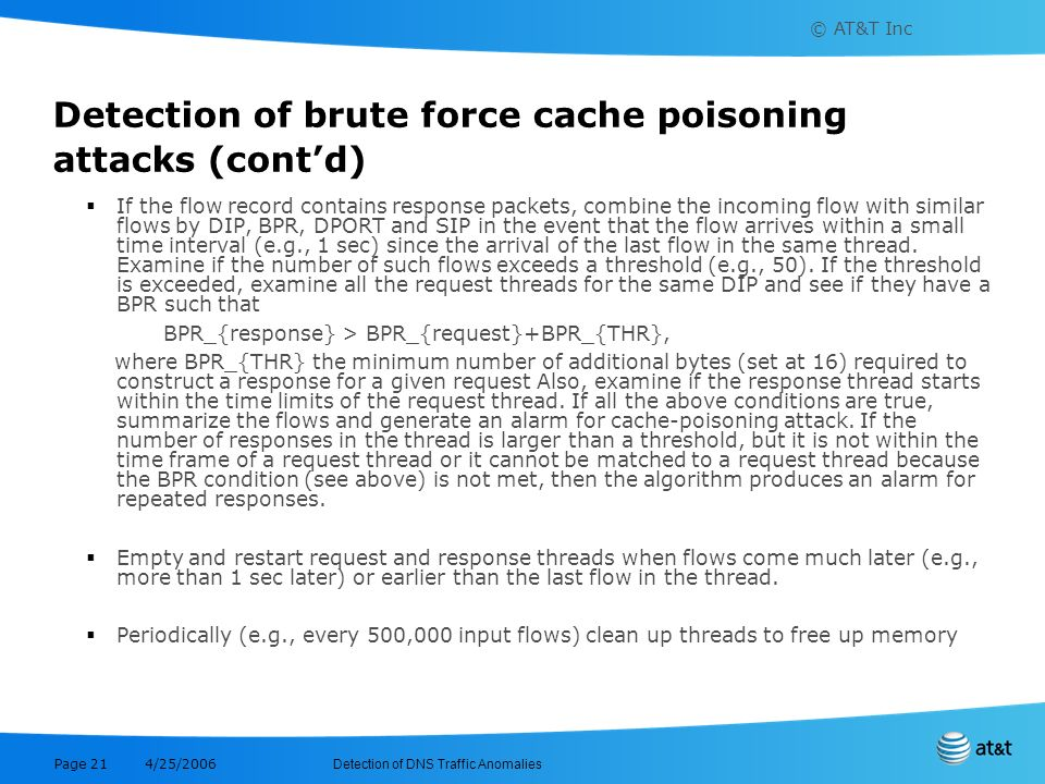 Detection of brute force cache poisoning attacks (cont'd)