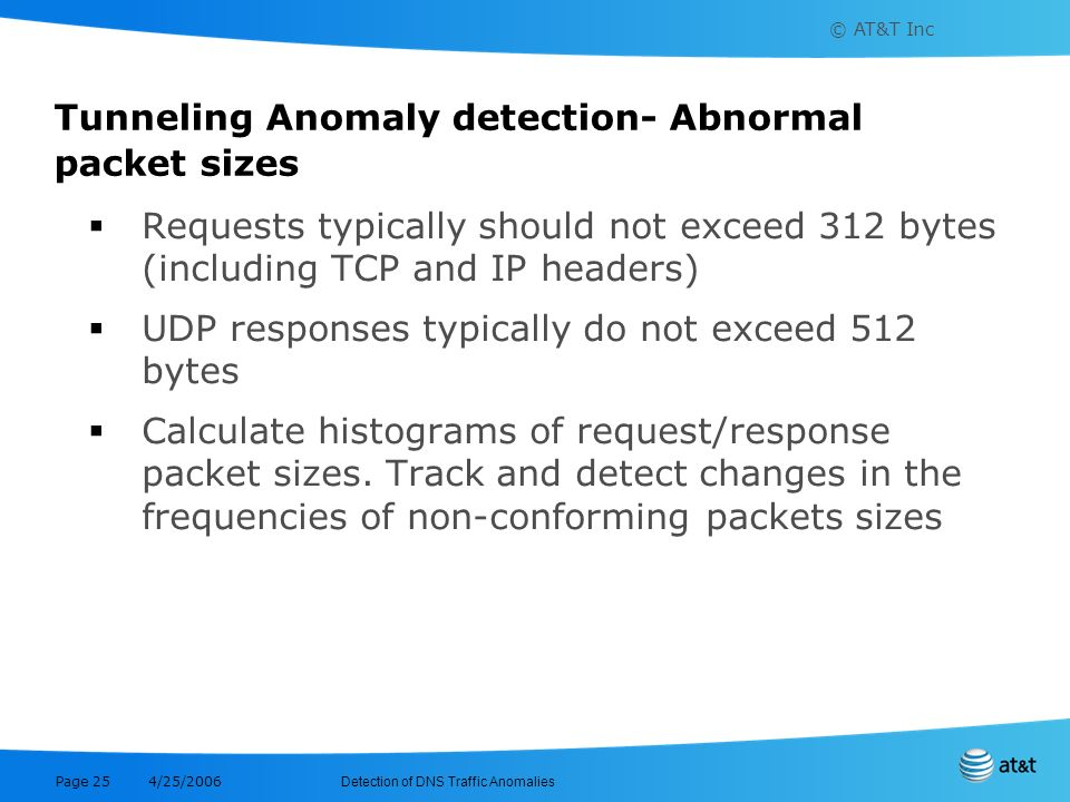 Tunneling Anomaly detection- Abnormal packet sizes