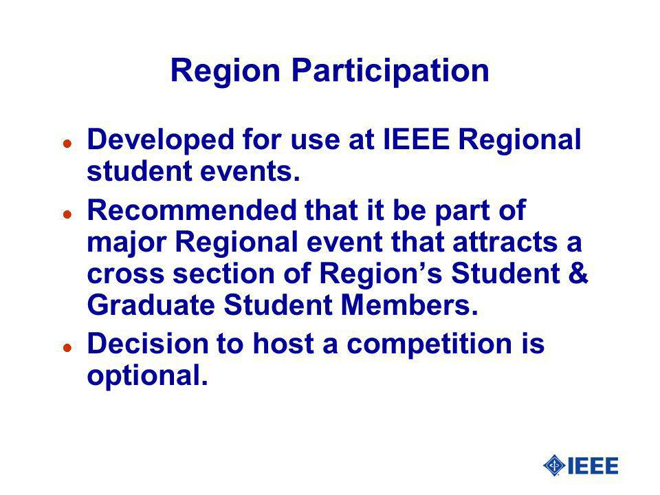 Region Participation Developed for use at IEEE Regional student events.