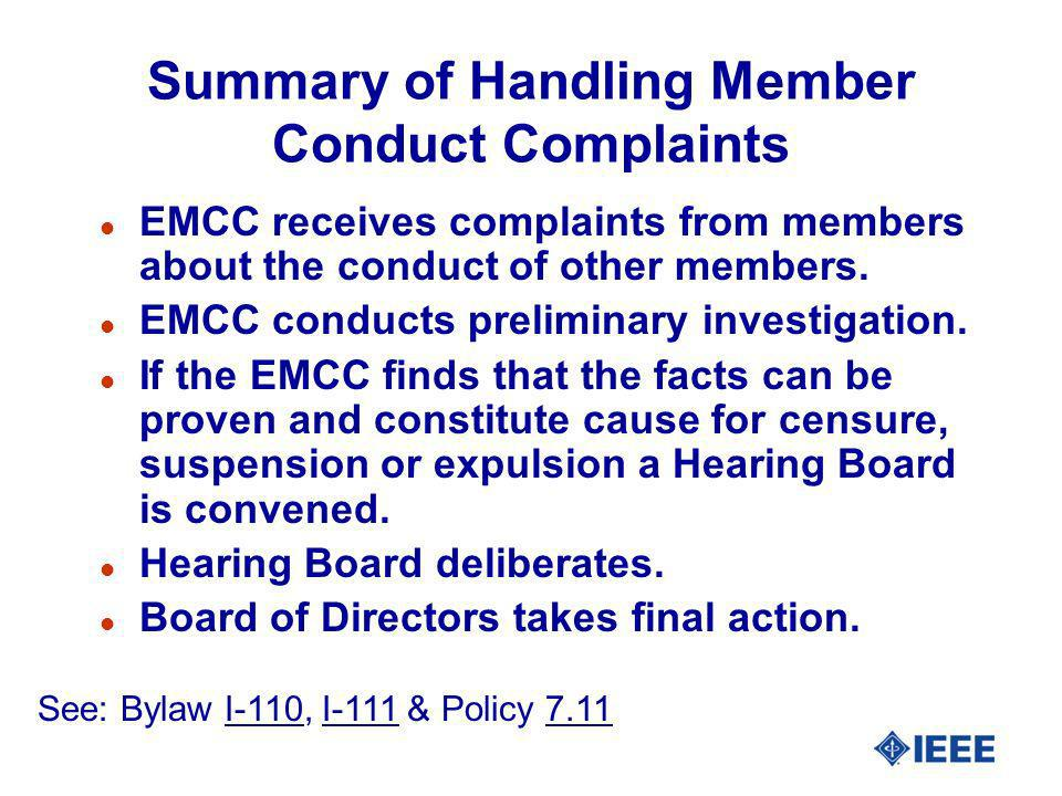 Summary of Handling Member Conduct Complaints