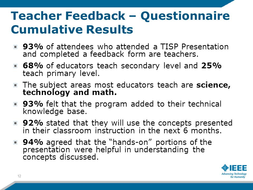 Teacher Feedback – Questionnaire Cumulative Results
