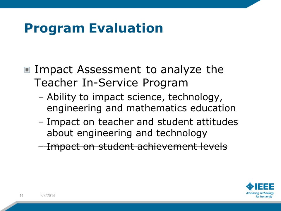 Program Evaluation Impact Assessment to analyze the Teacher In-Service Program.