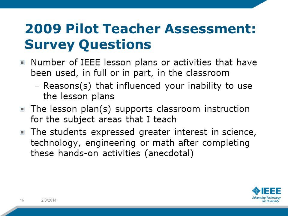 2009 Pilot Teacher Assessment: Survey Questions