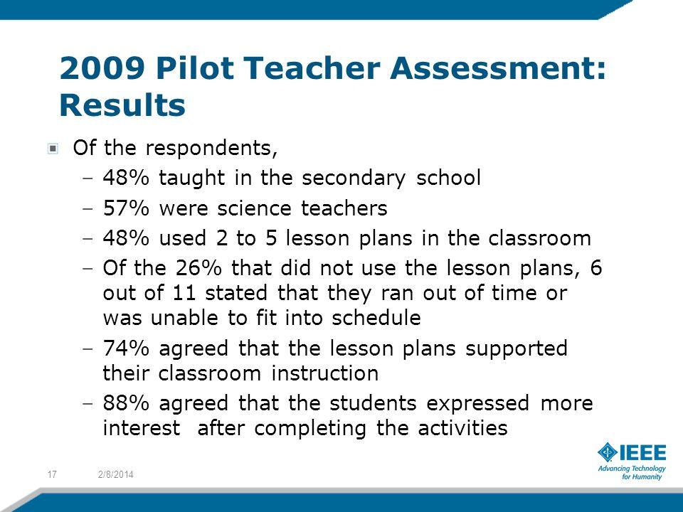 2009 Pilot Teacher Assessment: Results