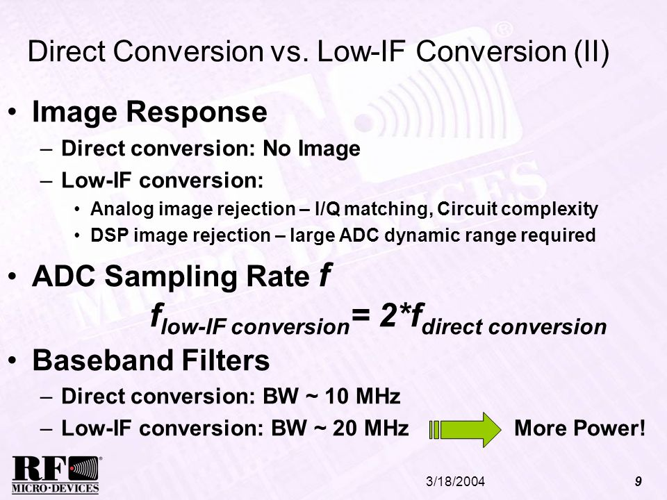 Direct Conversion vs. Low-IF Conversion (II)