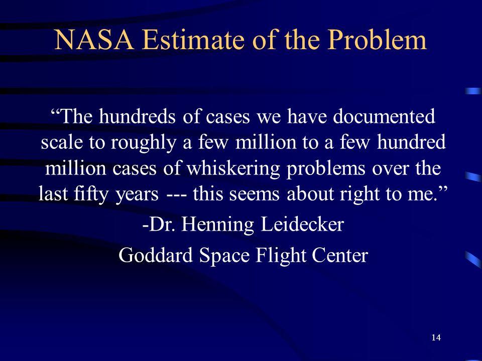 NASA Estimate of the Problem