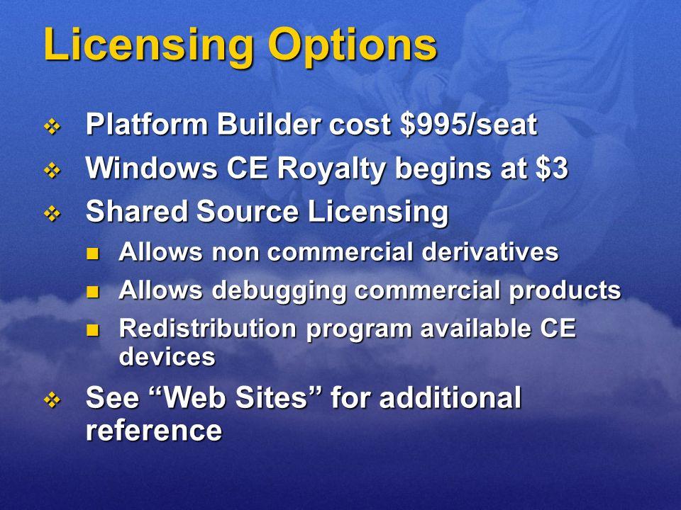 Licensing Options Platform Builder cost $995/seat