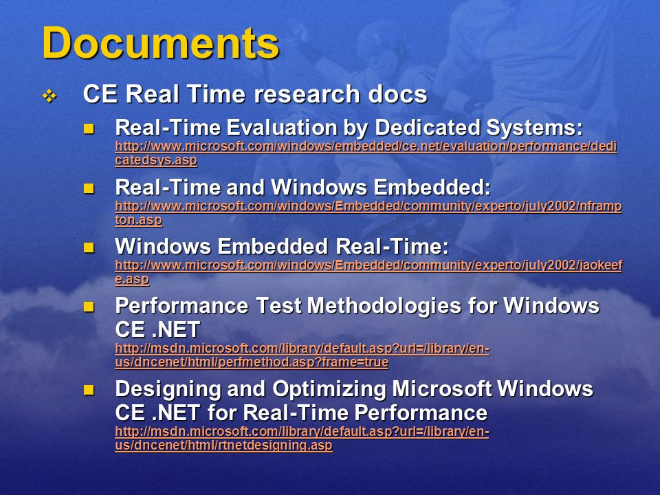 Documents CE Real Time research docs
