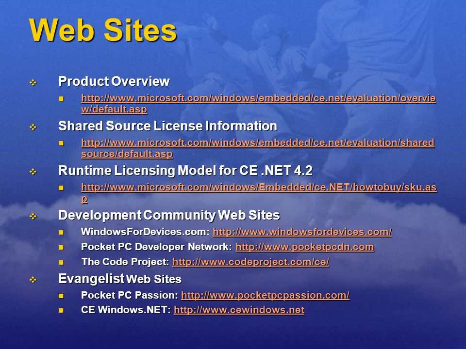 Web Sites Product Overview Shared Source License Information