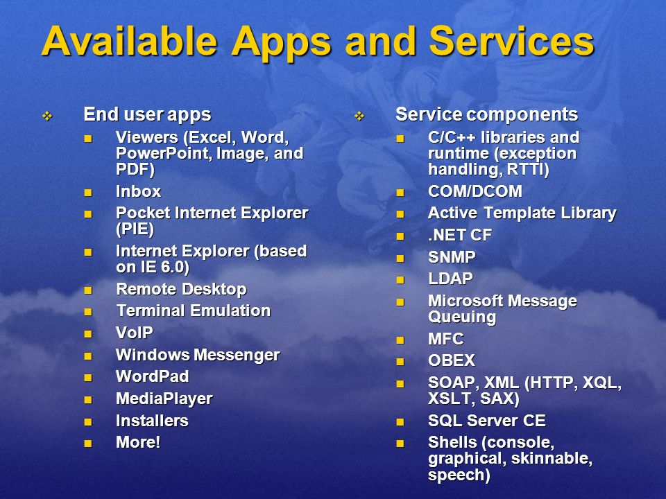 Available Apps and Services