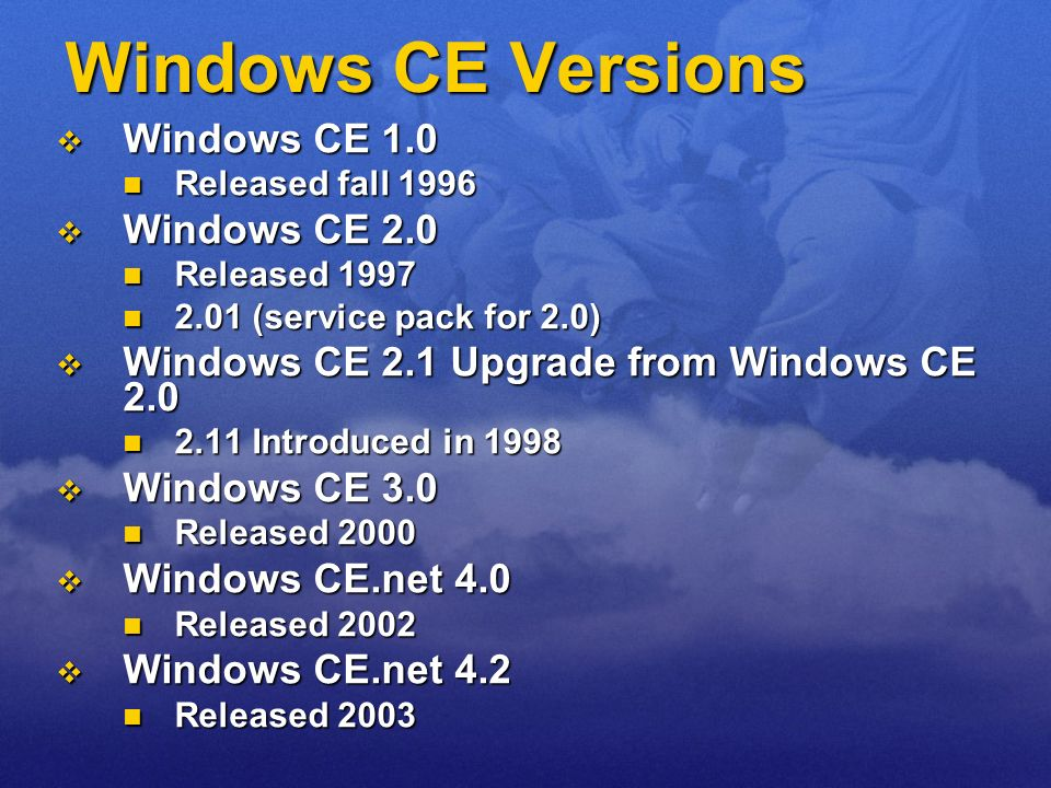 Windows CE Versions Windows CE 1.0 Windows CE 2.0