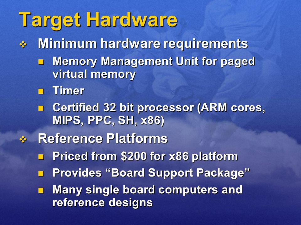 Target Hardware Minimum hardware requirements Reference Platforms