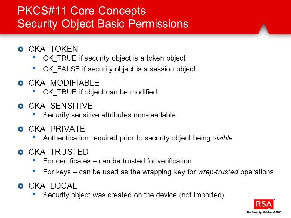 PKCS#11 Core Concepts Security Object Basic Permissions