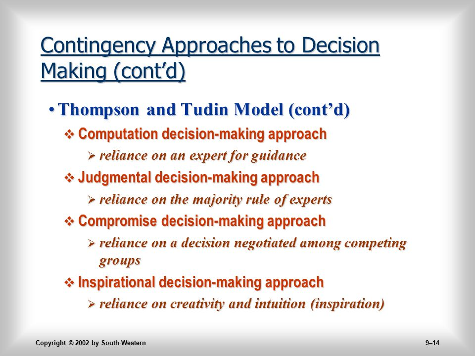 approaches to decision making Chapter 3: leading situations lesson 3: decision making and problem solving 110 unit 2: leadership theory and  approaches.