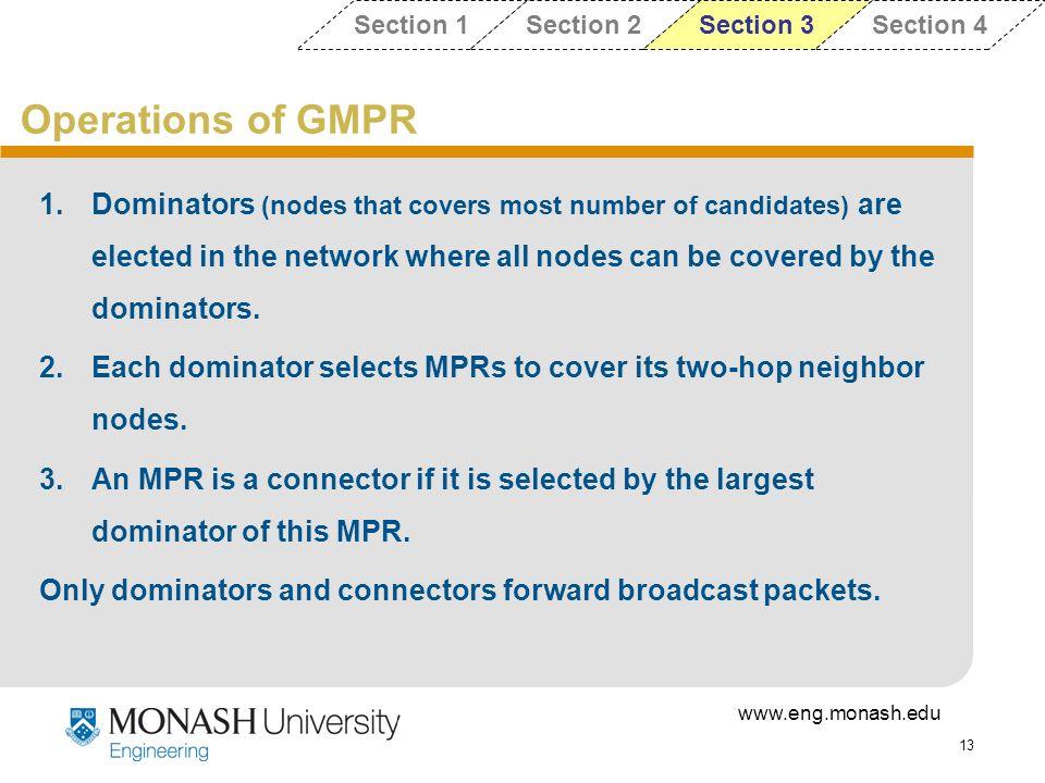 Section 1 Section 2. Section 3. Section 4. Operations of GMPR.