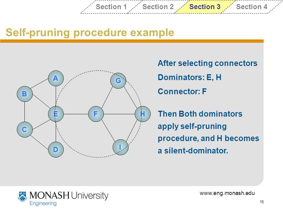 Self-pruning procedure example