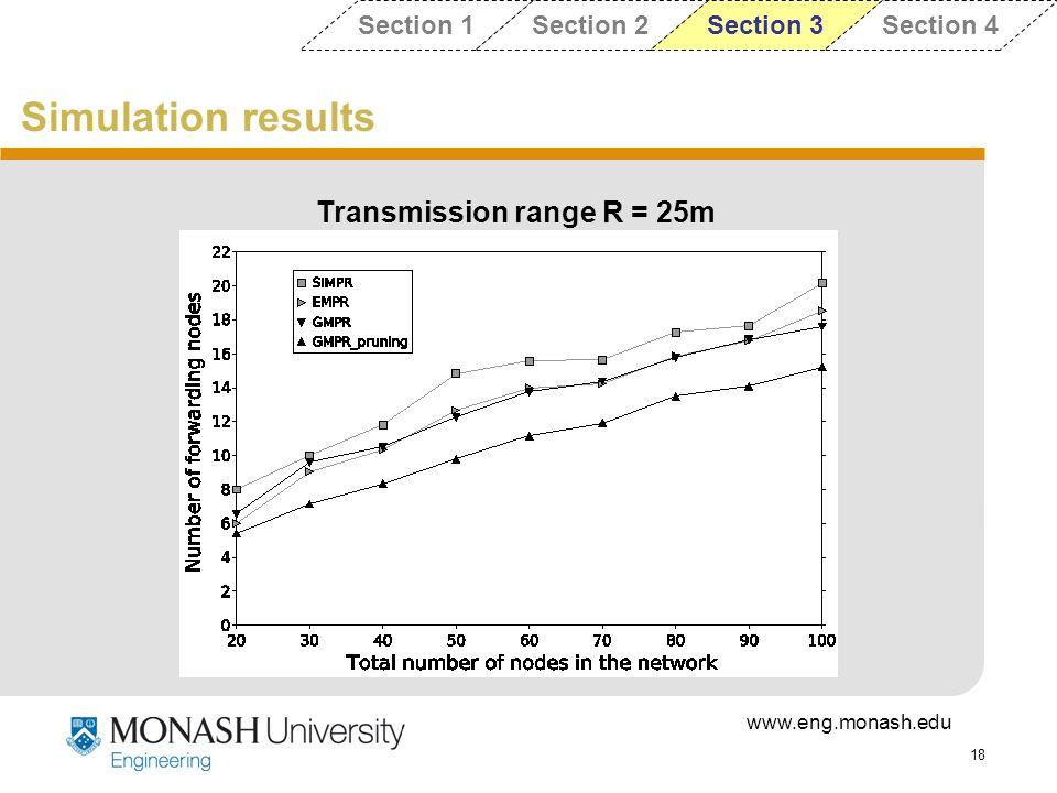 Transmission range R = 25m