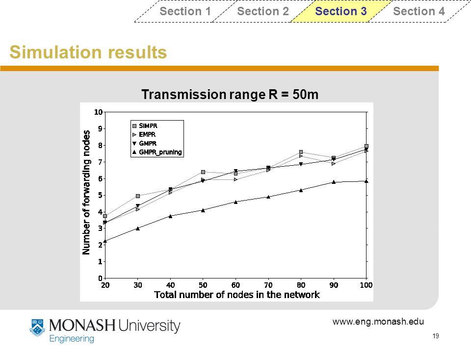 Transmission range R = 50m