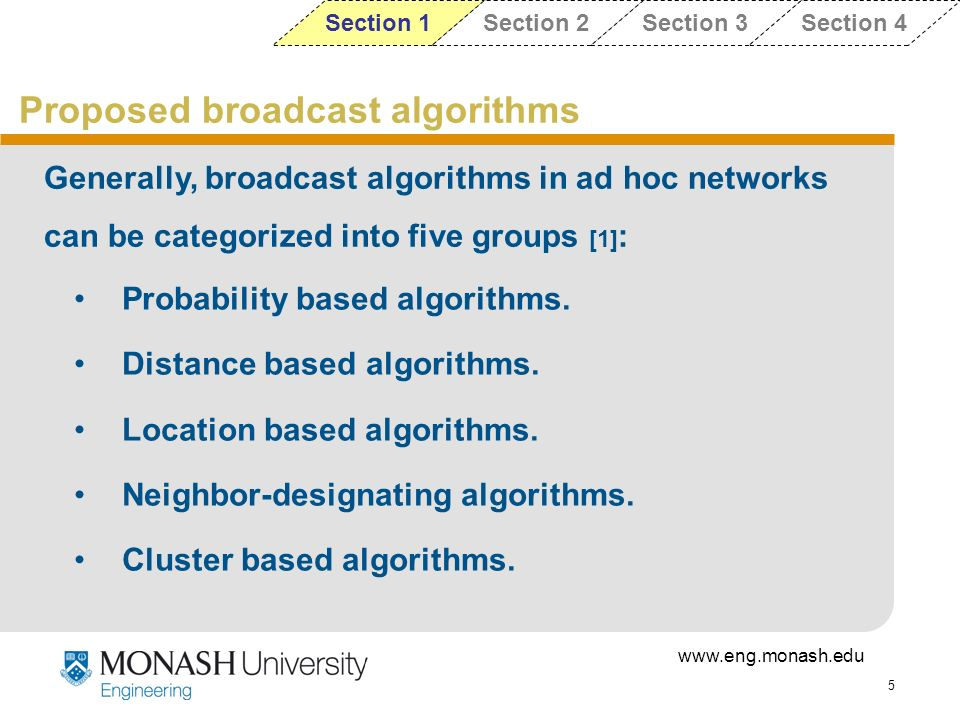 Proposed broadcast algorithms