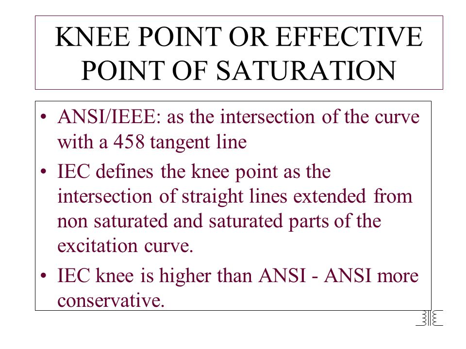KNEE POINT OR EFFECTIVE POINT OF SATURATION
