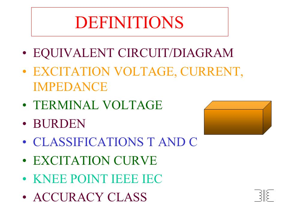 DEFINITIONS EQUIVALENT CIRCUIT/DIAGRAM