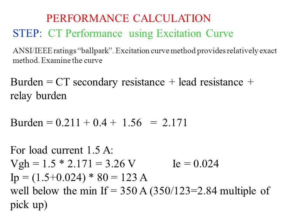PERFORMANCE CALCULATION STEP: CT Performance using Excitation Curve
