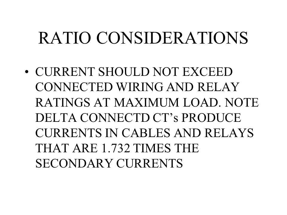 RATIO CONSIDERATIONS