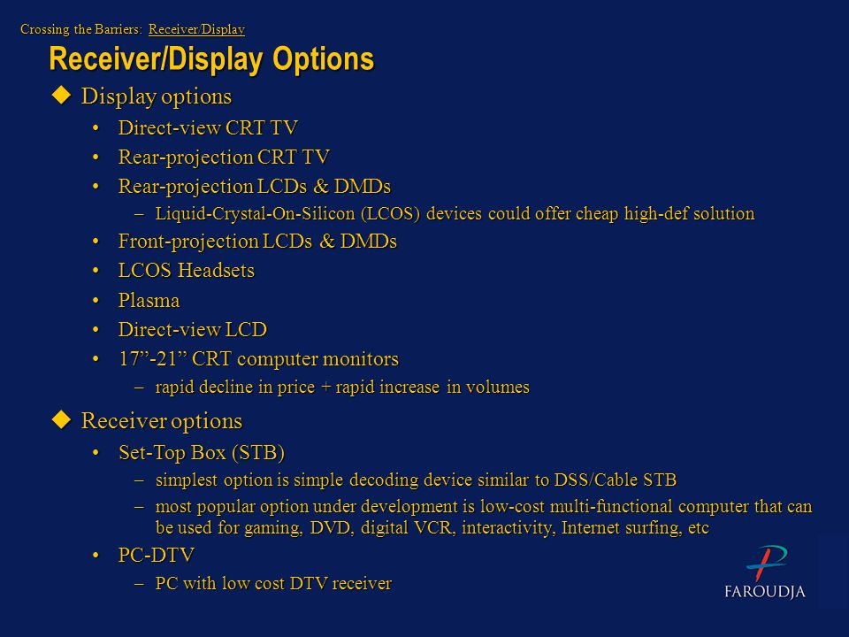 Receiver/Display Options