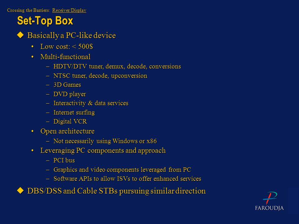 Set-Top Box Basically a PC-like device