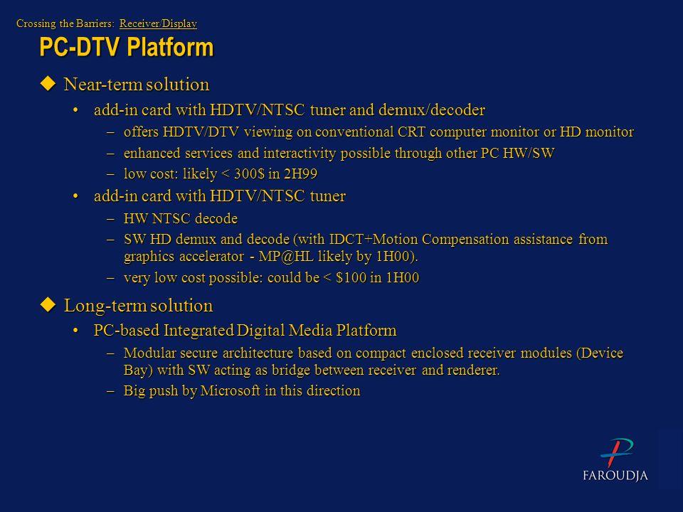 PC-DTV Platform Near-term solution Long-term solution