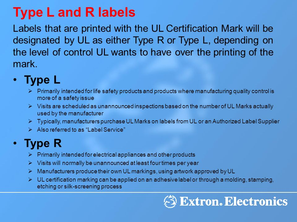 Type L and R labels Type L Type R