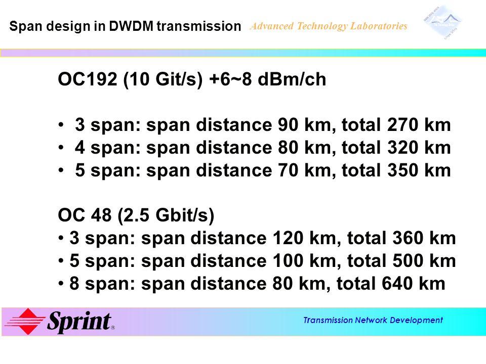 3 span: span distance 90 km, total 270 km
