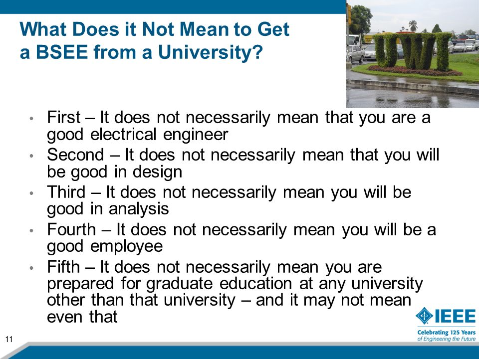 What Does it Not Mean to Get a BSEE from a University