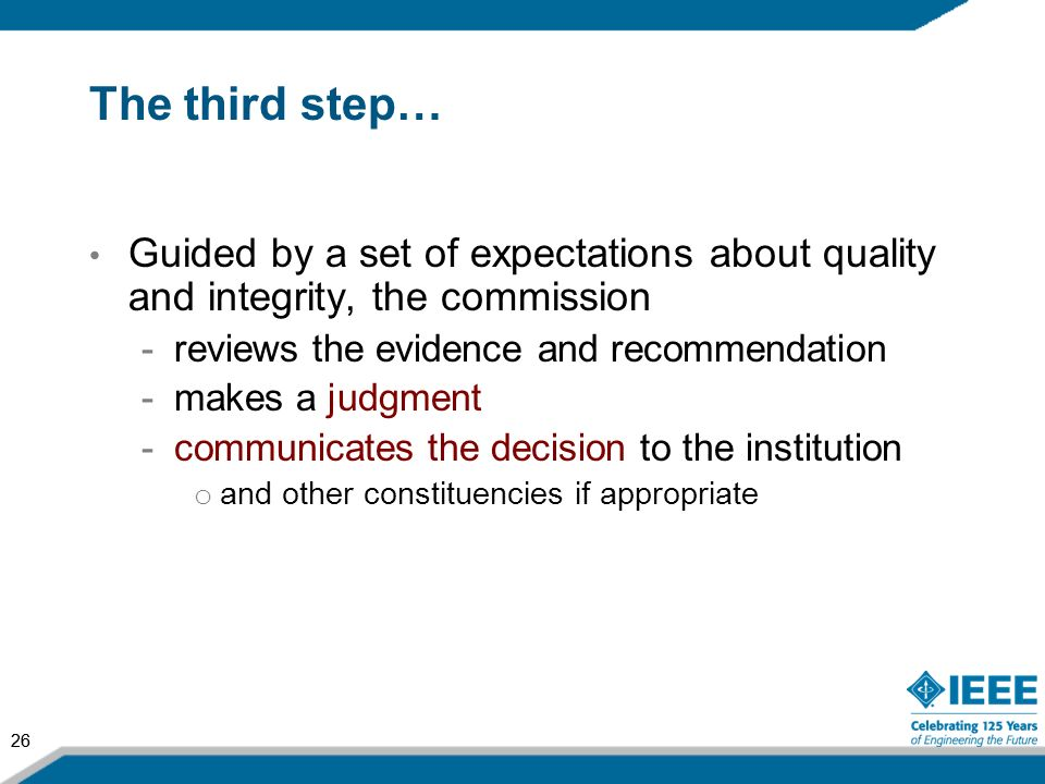 The third step… Guided by a set of expectations about quality and integrity, the commission. reviews the evidence and recommendation.