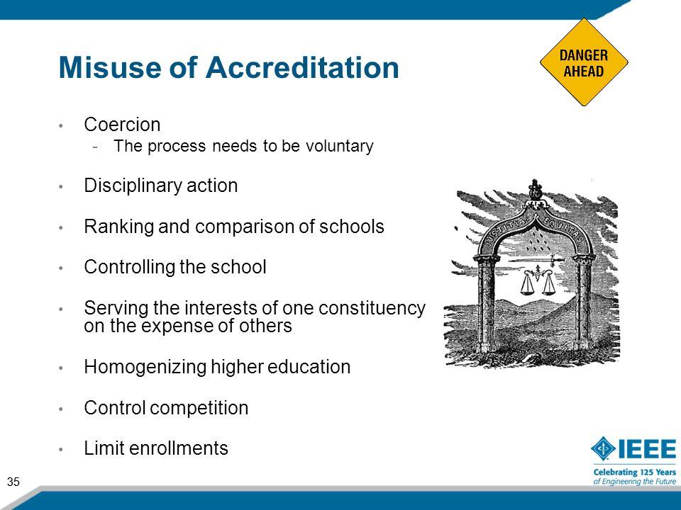 Misuse of Accreditation