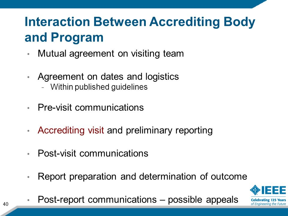 Interaction Between Accrediting Body and Program